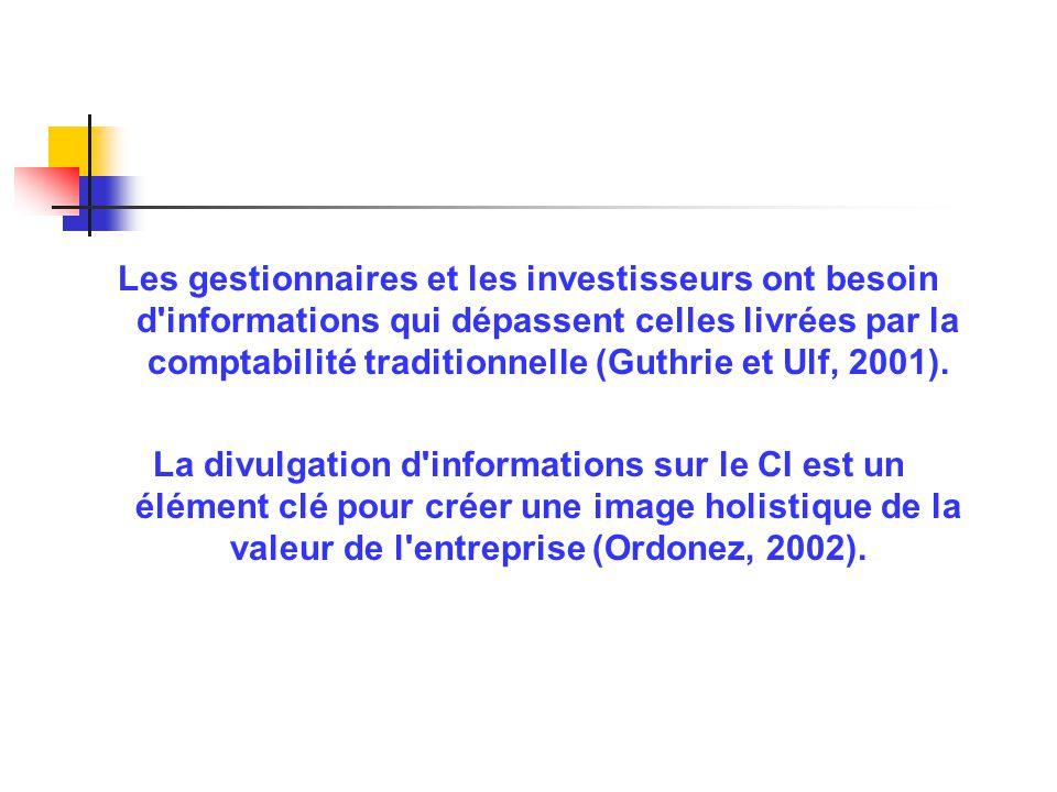 Les gestionnaires et les investisseurs ont besoin d'informations qui dépassent celles livrées par la comptabilité traditionnelle (Guthrie et Ulf, 2001
