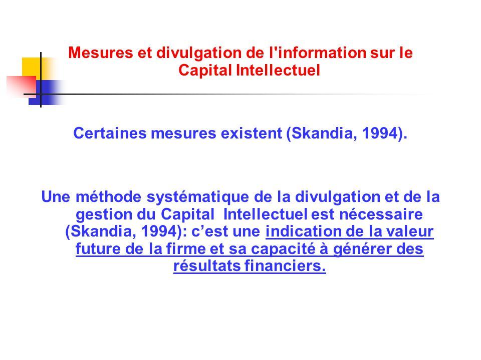 Mesures et divulgation de l'information sur le Capital Intellectuel Certaines mesures existent (Skandia, 1994). Une méthode systématique de la divulga