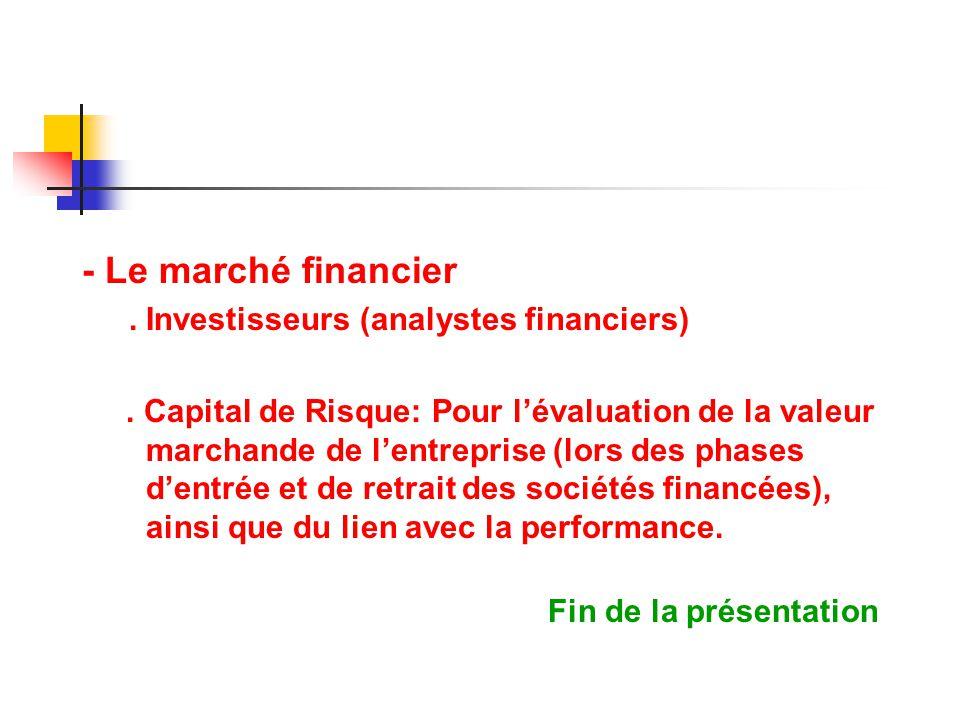 - Le marché financier. Investisseurs (analystes financiers). Capital de Risque: Pour lévaluation de la valeur marchande de lentreprise (lors des phase