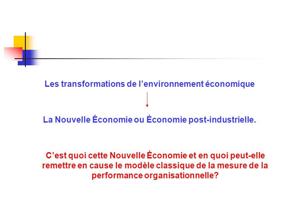 Les transformations de lenvironnement économique La Nouvelle Économie ou Économie post-industrielle. Cest quoi cette Nouvelle Économie et en quoi peut