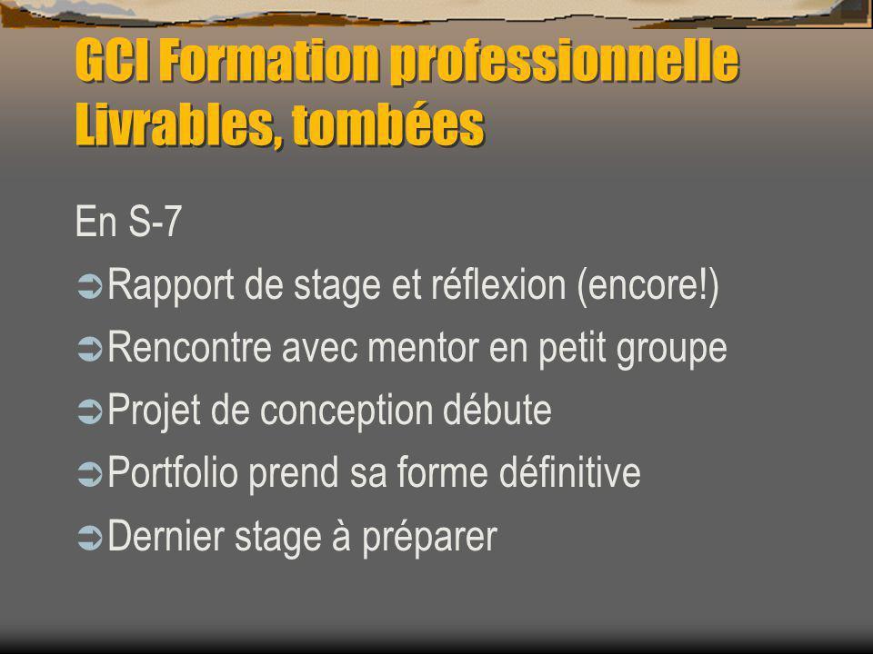 GCI Formation professionnelle Livrables, tombées En S-7 Rapport de stage et réflexion (encore!) Rencontre avec mentor en petit groupe Projet de conception débute Portfolio prend sa forme définitive Dernier stage à préparer