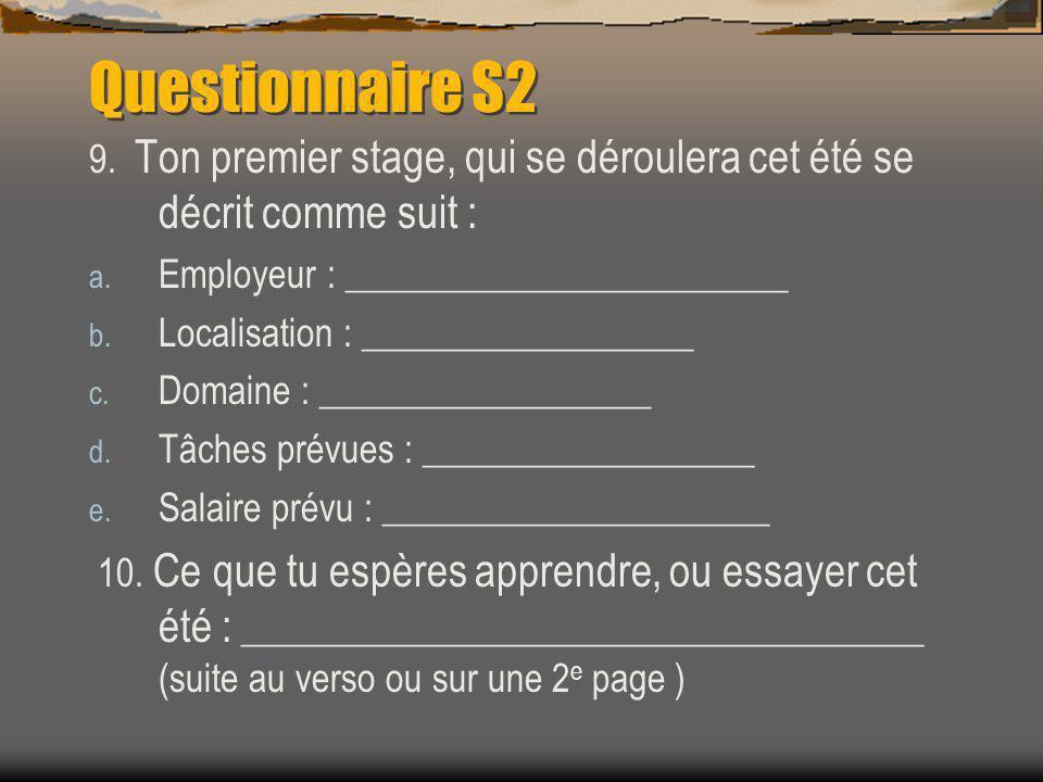 Questionnaire S2 9. Ton premier stage, qui se déroulera cet été se décrit comme suit : a.