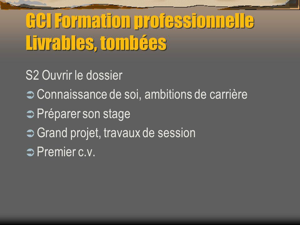 GCI Formation professionnelle Livrables, tombées S2 Ouvrir le dossier Connaissance de soi, ambitions de carrière Préparer son stage Grand projet, travaux de session Premier c.v.