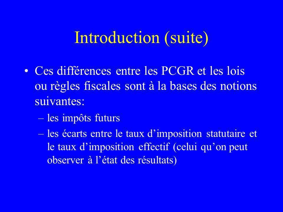 Introduction (suite) Ces différences entre les PCGR et les lois ou règles fiscales sont à la bases des notions suivantes: –les impôts futurs –les écarts entre le taux dimposition statutaire et le taux dimposition effectif (celui quon peut observer à létat des résultats)