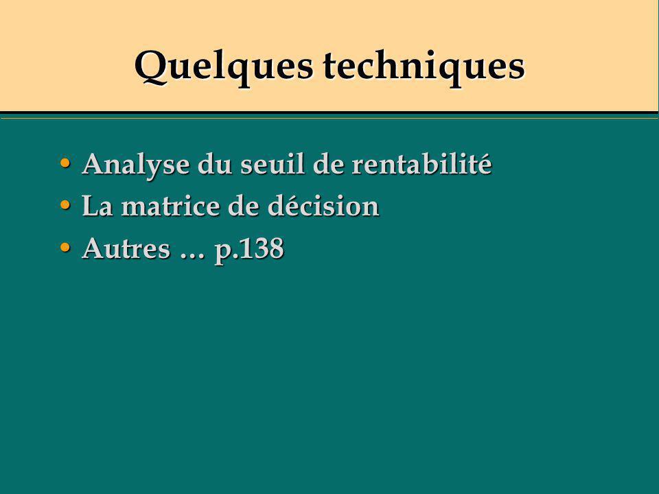Quelques techniques Analyse du seuil de rentabilité Analyse du seuil de rentabilité La matrice de décision La matrice de décision Autres … p.138 Autre