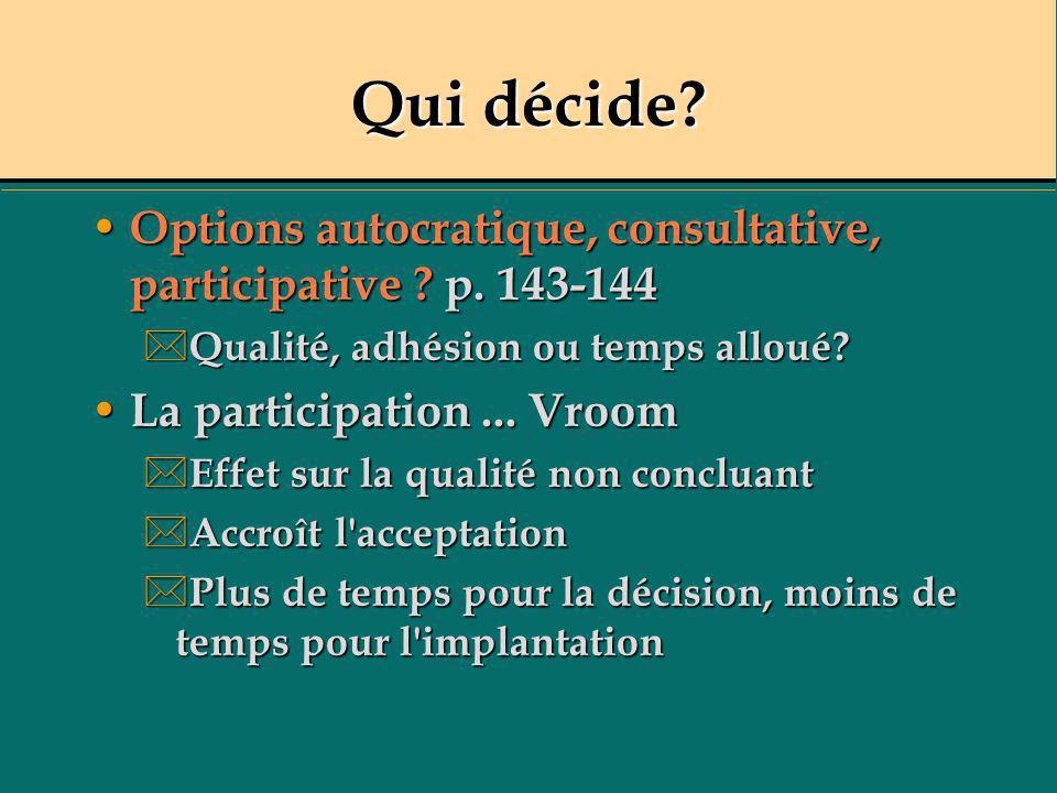 Qui décide? Options autocratique, consultative, participative ? p. 143-144 Options autocratique, consultative, participative ? p. 143-144 * Qualité, a