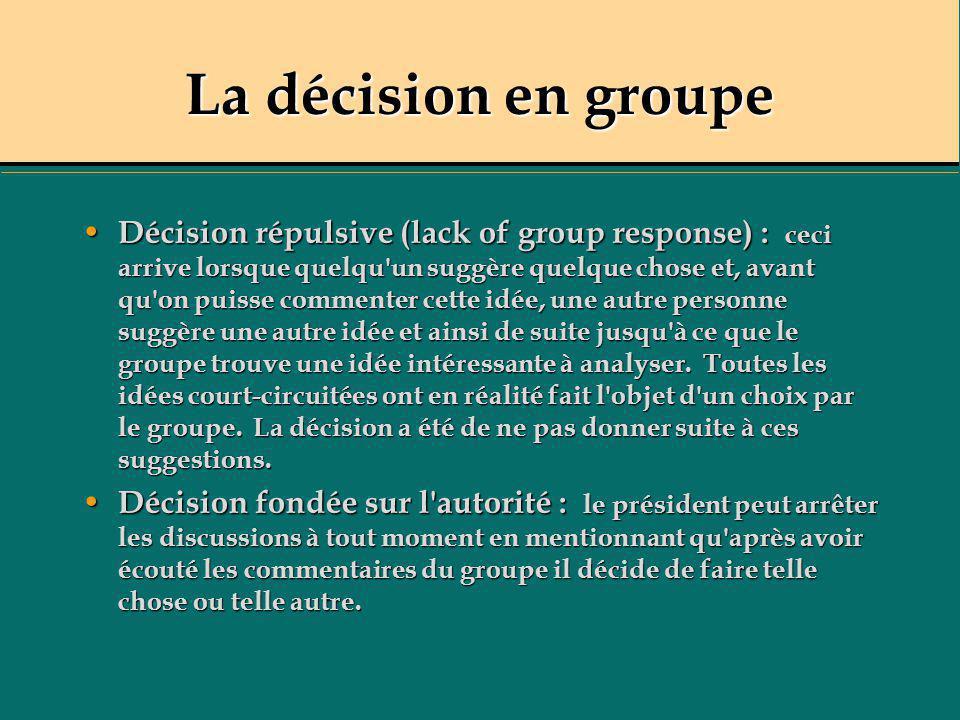 La décision en groupe Décision répulsive (lack of group response) : ceci arrive lorsque quelqu'un suggère quelque chose et, avant qu'on puisse comment