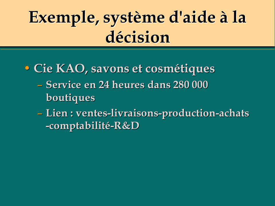 Exemple, système d'aide à la décision Cie KAO, savons et cosmétiques Cie KAO, savons et cosmétiques – Service en 24 heures dans 280 000 boutiques – Li