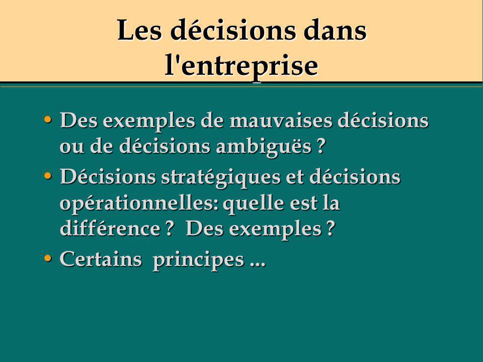 Certains principes - Les décisions doivent être cohérentes avec les valeurs et les objectifs de l organisation.