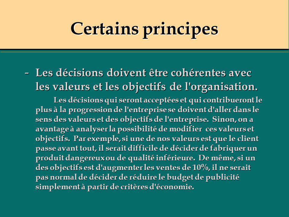 Certains principes - Les décisions doivent être cohérentes avec les valeurs et les objectifs de l'organisation. Les décisions qui seront acceptées et