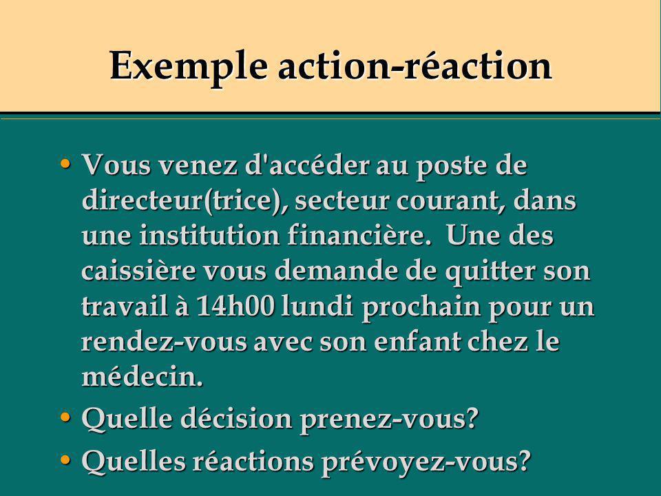 Exemple action-réaction Vous venez d'accéder au poste de directeur(trice), secteur courant, dans une institution financière. Une des caissière vous de