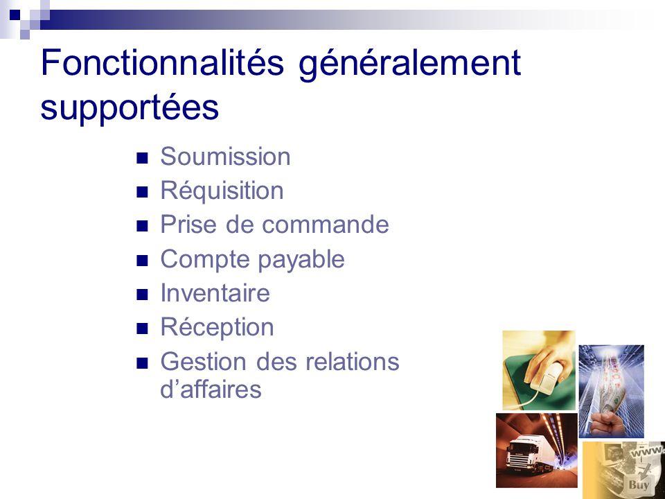 Fonctionnalités généralement supportées Soumission Réquisition Prise de commande Compte payable Inventaire Réception Gestion des relations daffaires