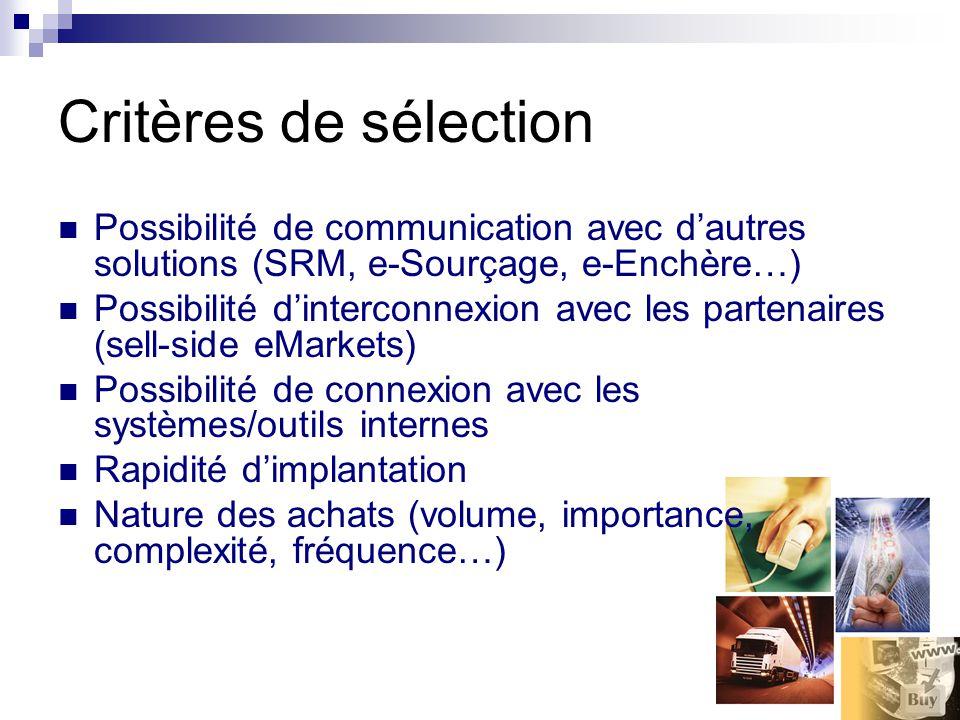 Critères de sélection Possibilité de communication avec dautres solutions (SRM, e-Sourçage, e-Enchère…) Possibilité dinterconnexion avec les partenair