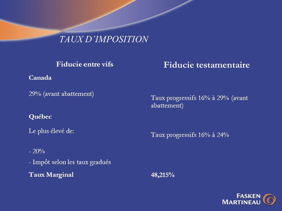 TAUX DIMPOSITION Fiducie entre vifs Canada 29% (avant abattement) Québec Le plus élevé de: - 20% - Impôt selon les taux gradués Taux Marginal Fiducie