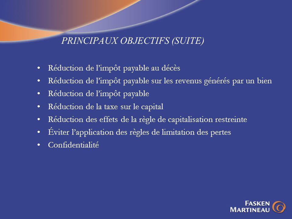 PRINCIPAUX OBJECTIFS (SUITE) Réduction de limpôt payable au décès Réduction de limpôt payable sur les revenus générés par un bien Réduction de limpôt