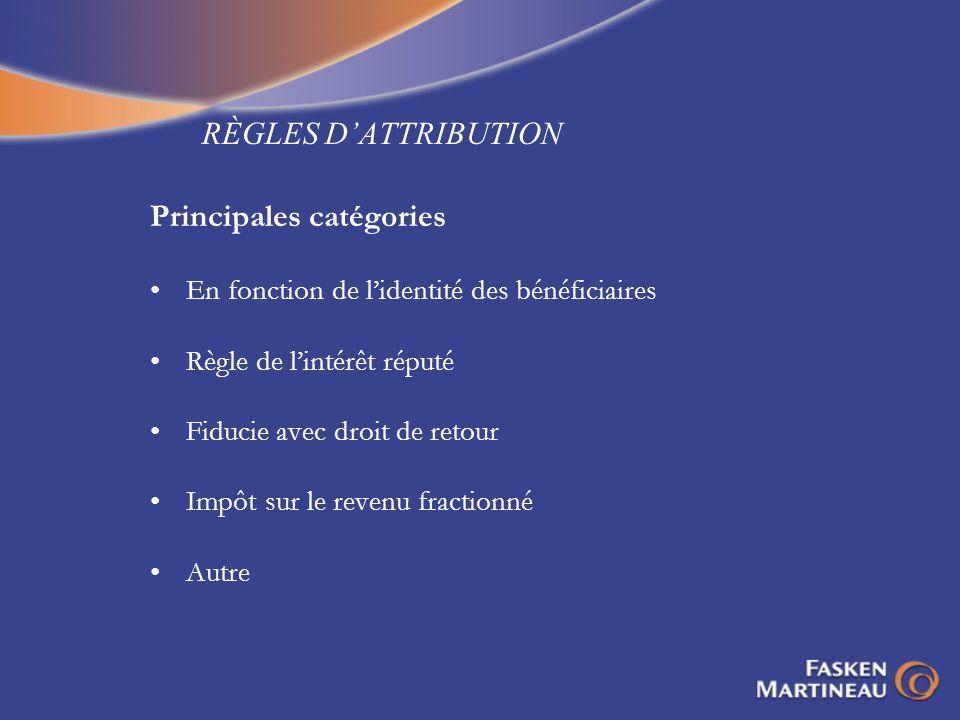 RÈGLES DATTRIBUTION Principales catégories En fonction de lidentité des bénéficiaires Règle de lintérêt réputé Fiducie avec droit de retour Impôt sur