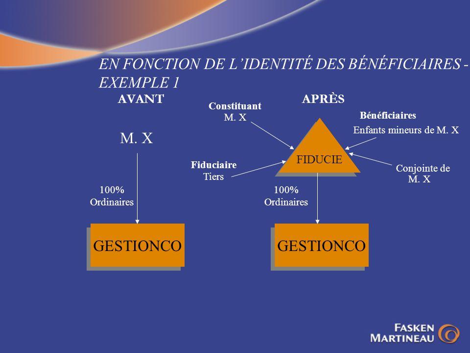 EN FONCTION DE LIDENTITÉ DES BÉNÉFICIAIRES - EXEMPLE 1 AVANTAPRÈS GESTIONCO 100% Ordinaires M. X FIDUCIE Constituant M. X Fiduciaire Tiers Bénéficiair
