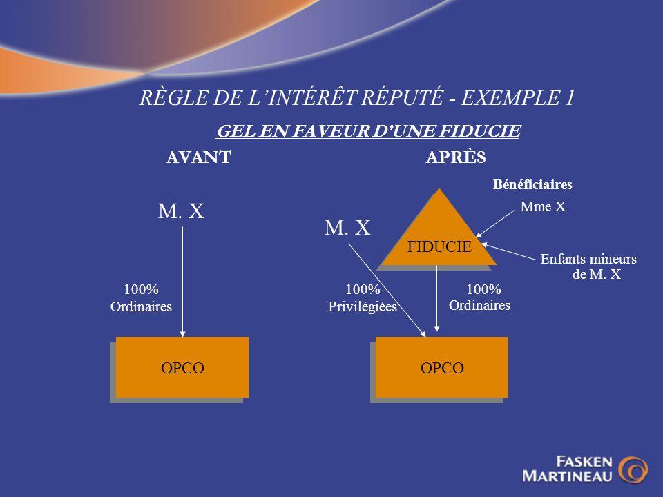 RÈGLE DE LINTÉRÊT RÉPUTÉ - EXEMPLE 1 GEL EN FAVEUR DUNE FIDUCIE AVANTAPRÈS OPCO 100% Ordinaires M. X FIDUCIE Mme X Enfants mineurs de M. X OPCO 100% P