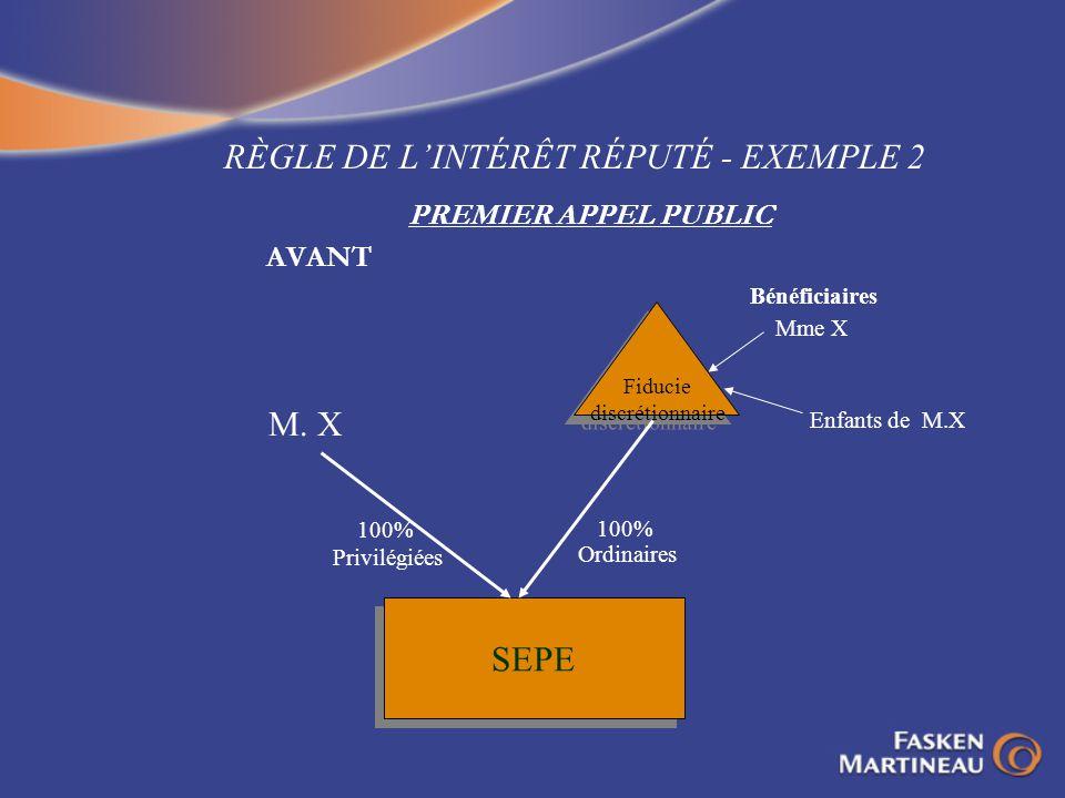 RÈGLE DE LINTÉRÊT RÉPUTÉ - EXEMPLE 2 PREMIER APPEL PUBLIC AVANT Fiducie discrétionnaire Fiducie discrétionnaire SEPE M. X Mme X Enfants de M.X 100% Pr
