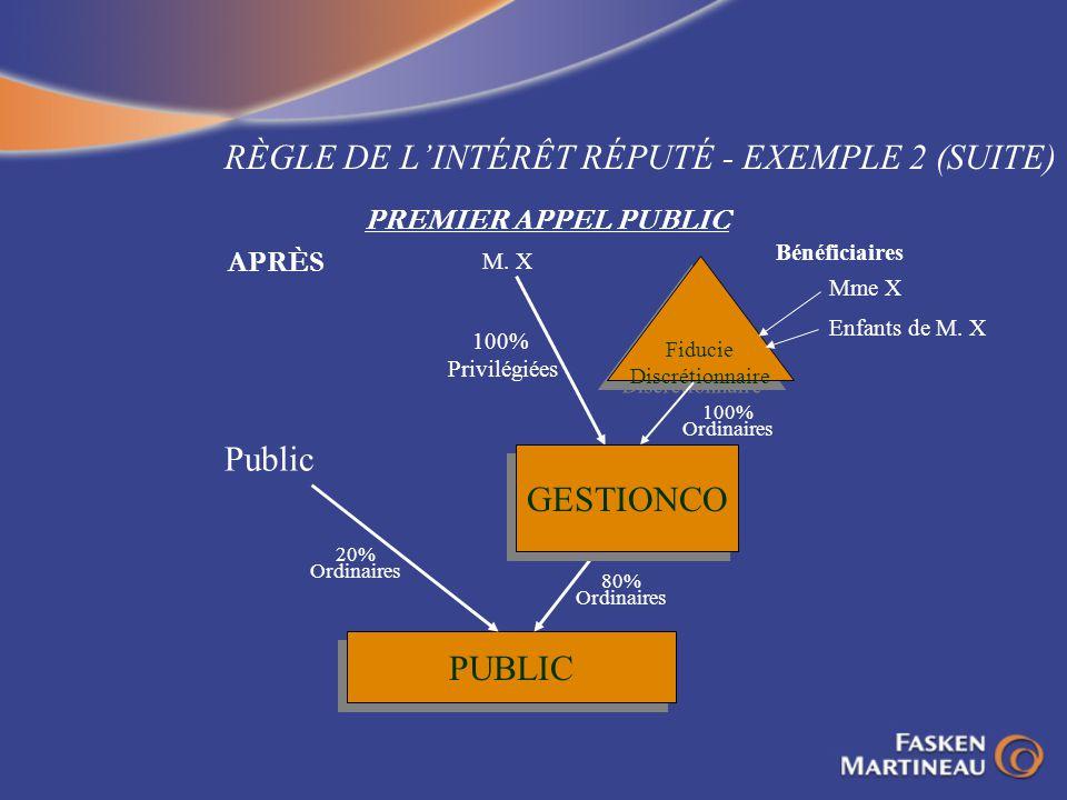 RÈGLE DE LINTÉRÊT RÉPUTÉ - EXEMPLE 2 (SUITE) PREMIER APPEL PUBLIC APRÈS Fiducie Discrétionnaire Fiducie Discrétionnaire PUBLIC Public Mme X Enfants de
