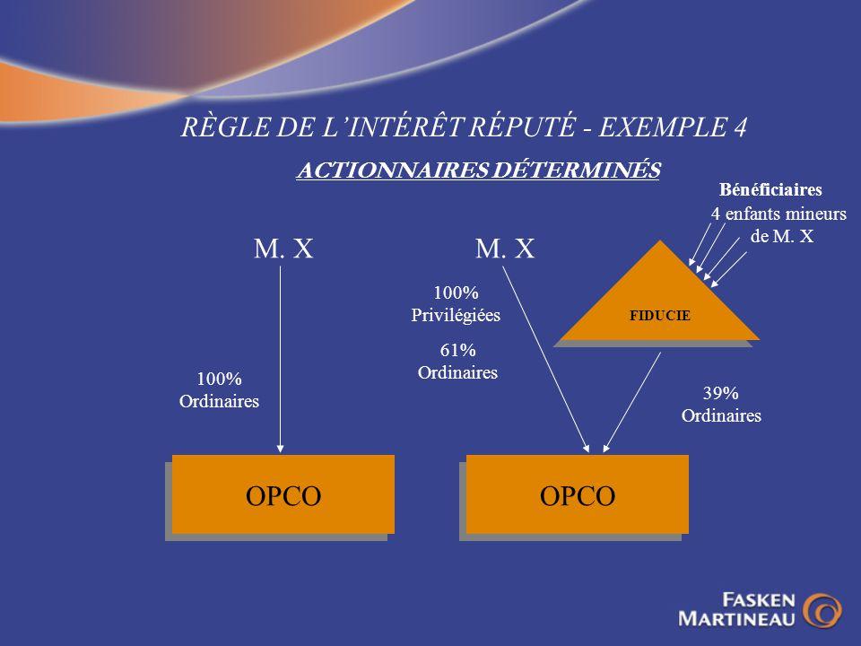 RÈGLE DE LINTÉRÊT RÉPUTÉ - EXEMPLE 4 ACTIONNAIRES DÉTERMINÉS OPCO 100% Ordinaires M. X OPCO FIDUCIE M. X 100% Privilégiées 61% Ordinaires 39% Ordinair