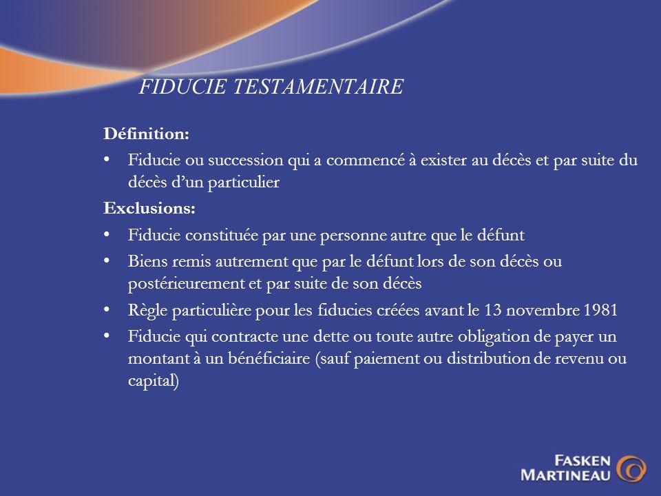 RÈGLE DE LINTÉRÊT RÉPUTÉ - EXEMPLE 2 PREMIER APPEL PUBLIC AVANT Fiducie discrétionnaire Fiducie discrétionnaire SEPE M.