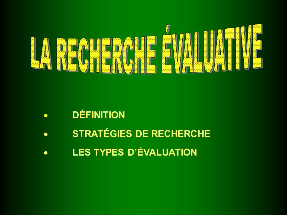 DÉFINITION STRATÉGIES DE RECHERCHE LES TYPES DÉVALUATION