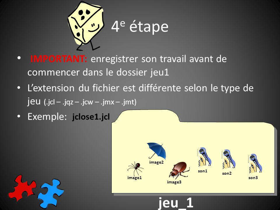 5 e étape Pour insérer du texte: seulement taper les phrases ou les mots au bon endroit Pour insérer une image: choisir Insérer/ Image/ À partir dun fichier local (cest-à-dire dans le dossier jeu1)