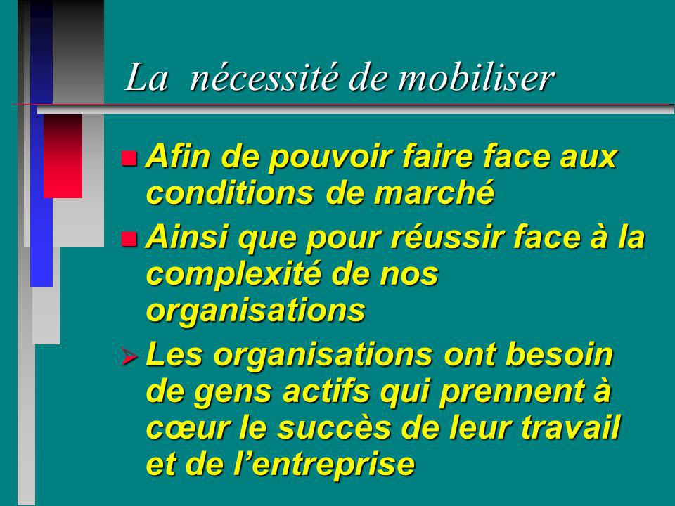 La nécessité de mobiliser n Afin de pouvoir faire face aux conditions de marché n Ainsi que pour réussir face à la complexité de nos organisations Les