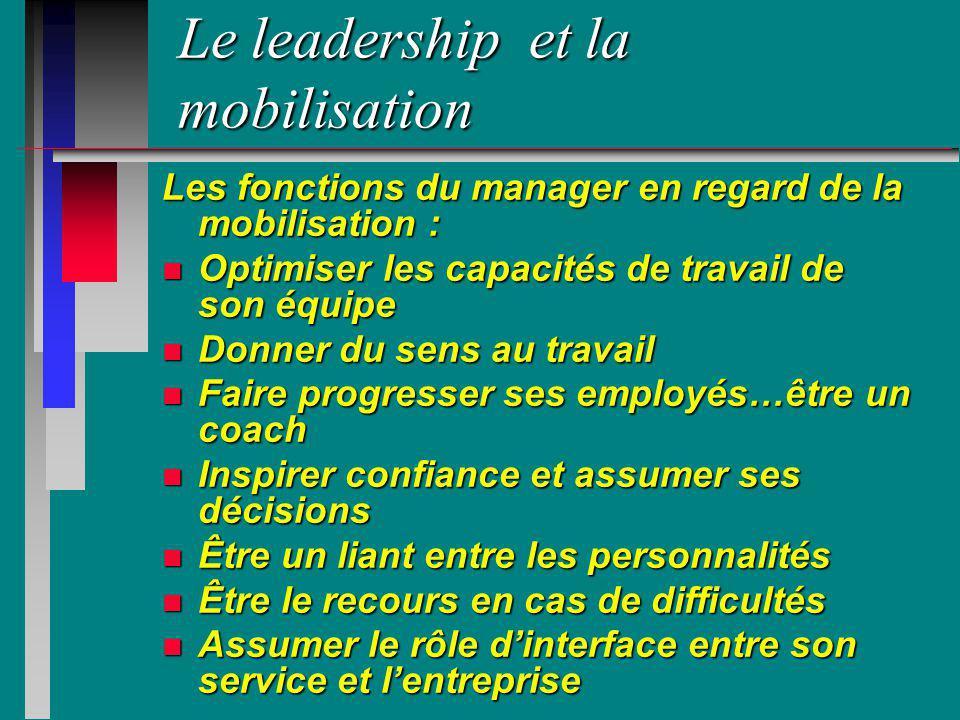 Le leadership et la mobilisation Les fonctions du manager en regard de la mobilisation : n Optimiser les capacités de travail de son équipe n Donner d