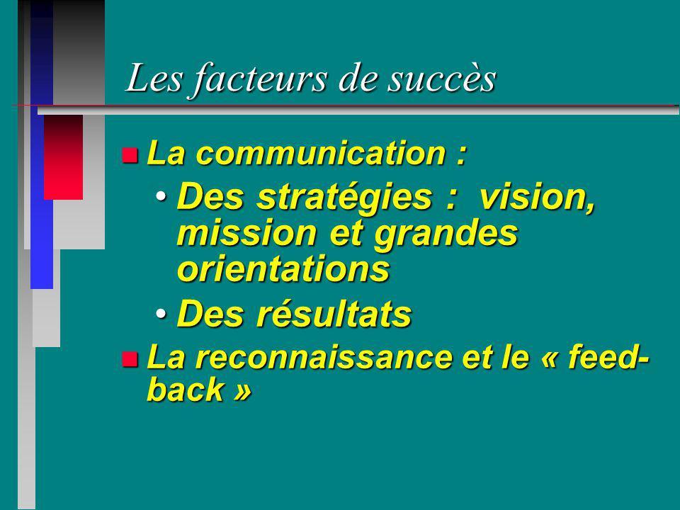 Les facteurs de succès n La communication : Des stratégies : vision, mission et grandes orientationsDes stratégies : vision, mission et grandes orient