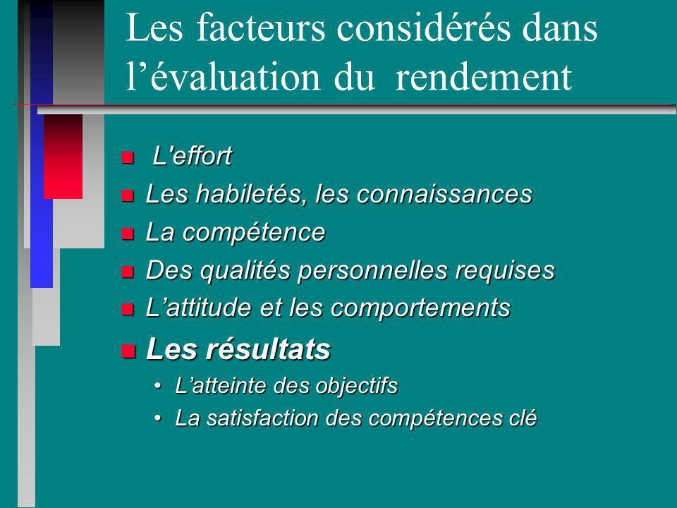 Les facteurs considérés dans lévaluation du rendement n L'effort n Les habiletés, les connaissances n La compétence n Des qualités personnelles requis