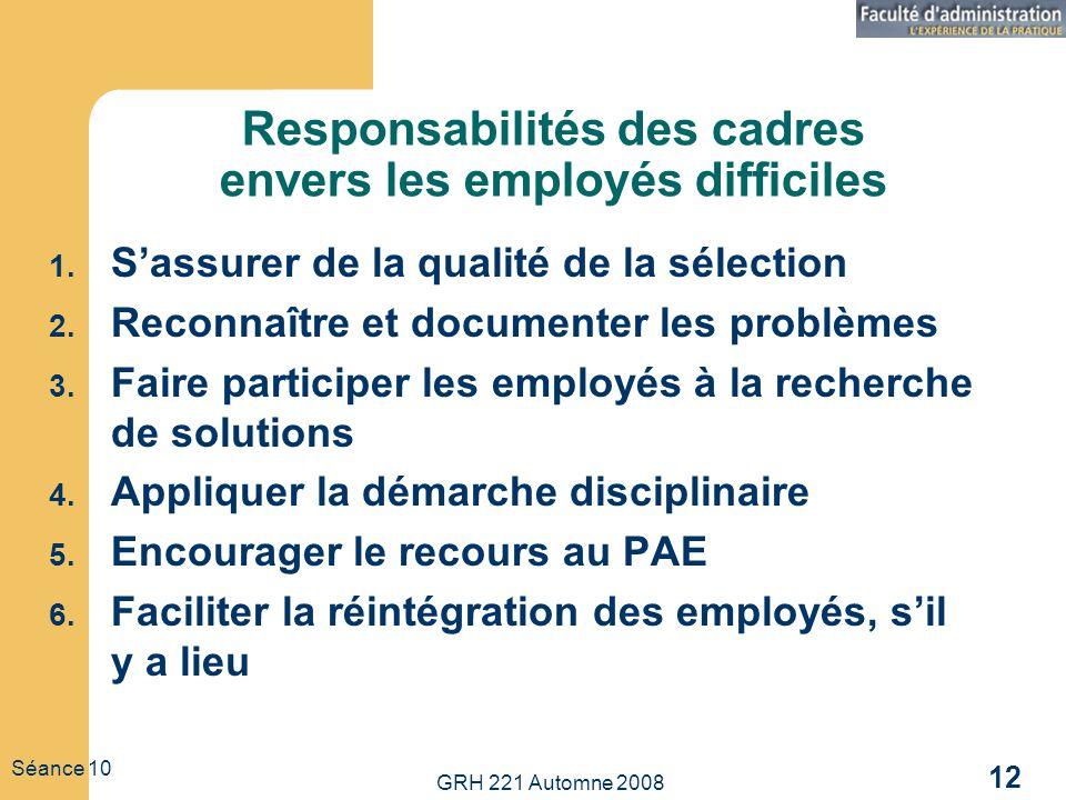 GRH 221 Automne 2008 12 Séance 10 Responsabilités des cadres envers les employés difficiles 1. Sassurer de la qualité de la sélection 2. Reconnaître e