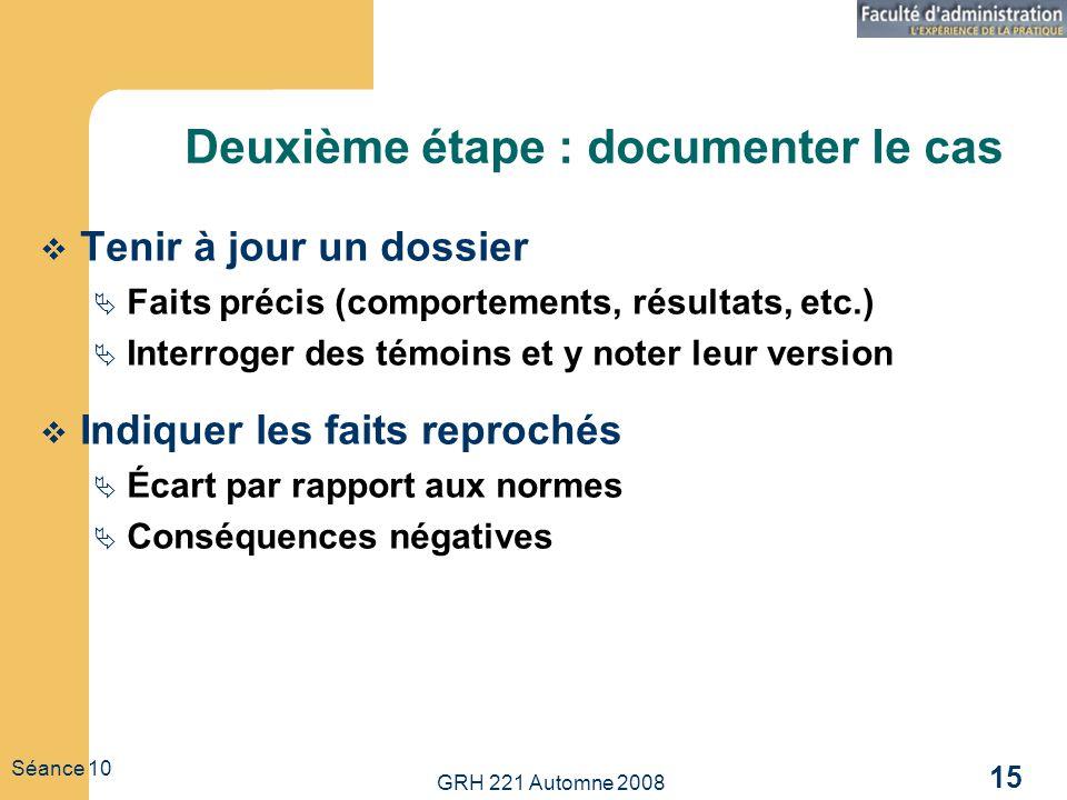 GRH 221 Automne 2008 15 Séance 10 Deuxième étape : documenter le cas Tenir à jour un dossier Faits précis (comportements, résultats, etc.) Interroger