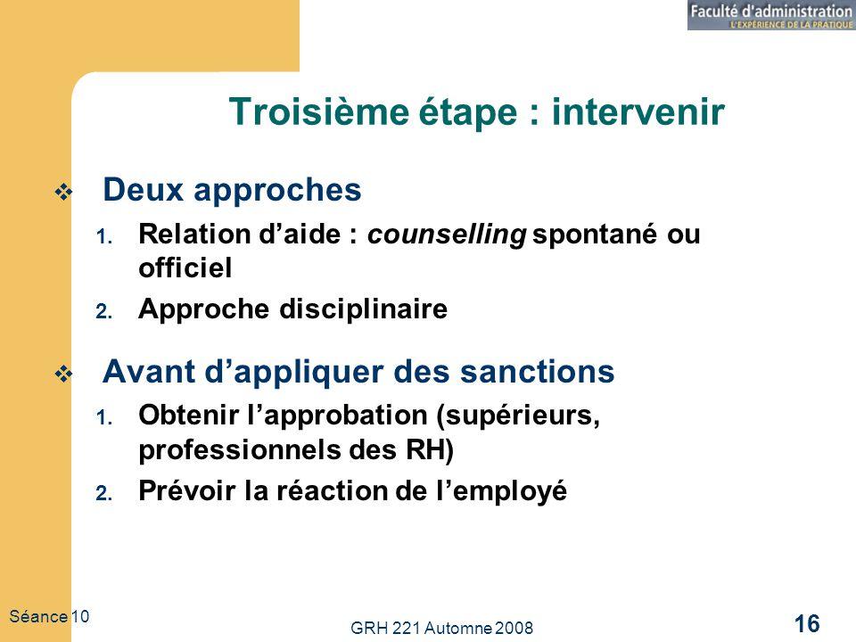 GRH 221 Automne 2008 16 Séance 10 Troisième étape : intervenir Deux approches 1. Relation daide : counselling spontané ou officiel 2. Approche discipl