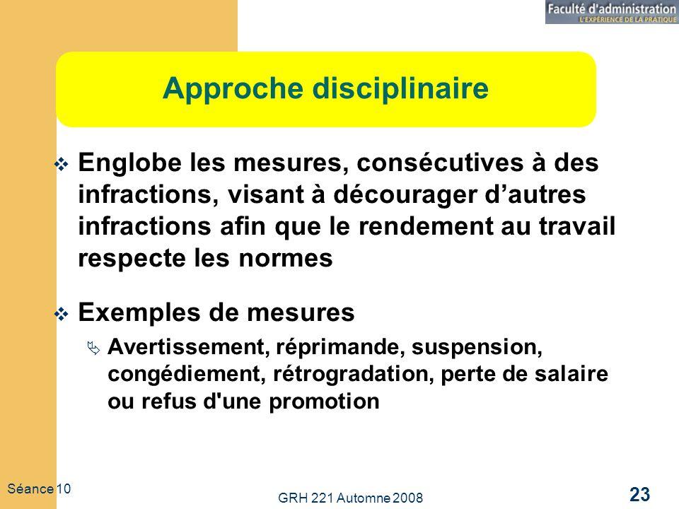 GRH 221 Automne 2008 23 Séance 10 Approche disciplinaire Englobe les mesures, consécutives à des infractions, visant à décourager dautres infractions