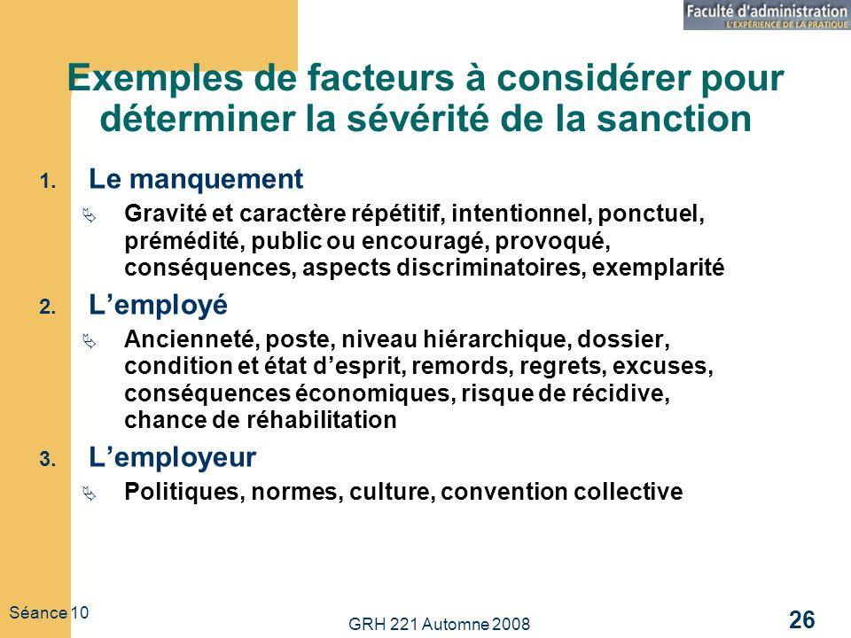 GRH 221 Automne 2008 26 Séance 10 Exemples de facteurs à considérer pour déterminer la sévérité de la sanction 1. Le manquement Gravité et caractère r