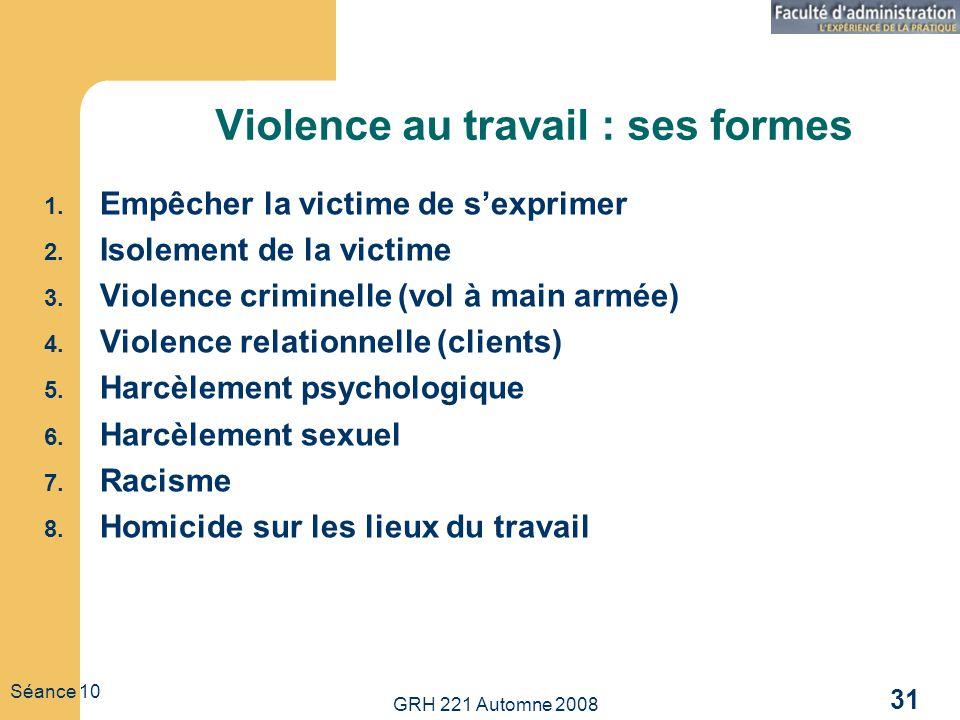 GRH 221 Automne 2008 31 Séance 10 Violence au travail : ses formes 1. Empêcher la victime de sexprimer 2. Isolement de la victime 3. Violence criminel