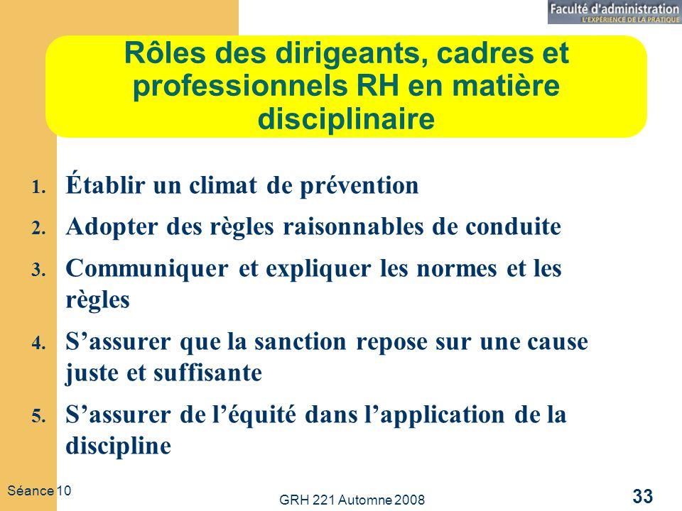 GRH 221 Automne 2008 33 Séance 10 Rôles des dirigeants, cadres et professionnels RH en matière disciplinaire 1. Établir un climat de prévention 2. Ado