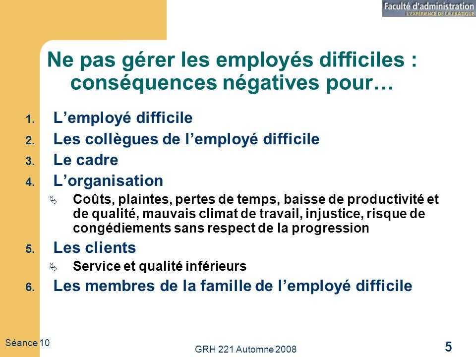 GRH 221 Automne 2008 5 Séance 10 Ne pas gérer les employés difficiles : conséquences négatives pour… 1. Lemployé difficile 2. Les collègues de lemploy