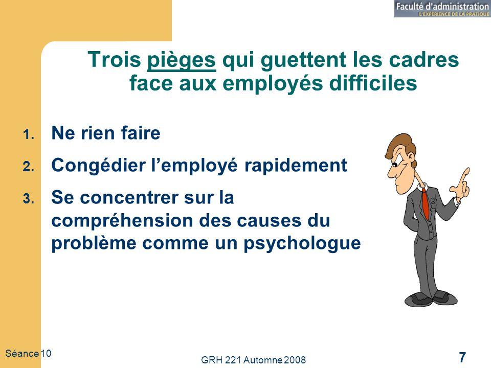 GRH 221 Automne 2008 7 Séance 10 Trois pièges qui guettent les cadres face aux employés difficiles 1. Ne rien faire 2. Congédier lemployé rapidement 3