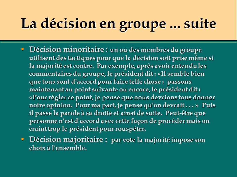 La décision en groupe... suite Décision minoritaire : un ou des membres du groupe utilisent des tactiques pour que la décision soit prise même si la m