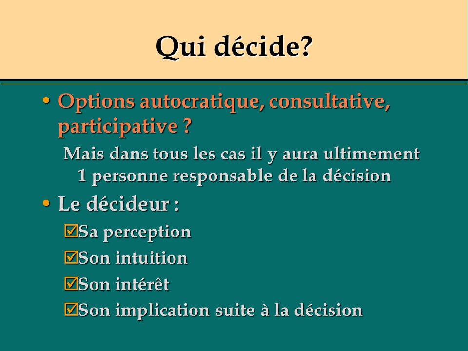 Qui décide? Options autocratique, consultative, participative ? Options autocratique, consultative, participative ? Mais dans tous les cas il y aura u