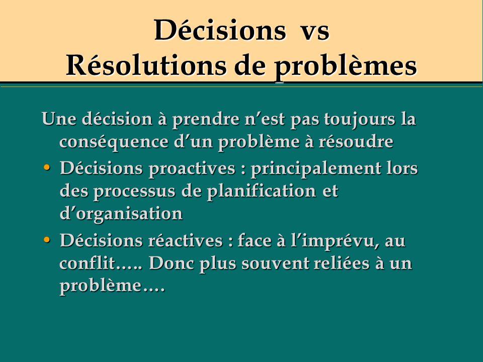 Décisions vs Résolutions de problèmes Une décision à prendre nest pas toujours la conséquence dun problème à résoudre Décisions proactives : principal