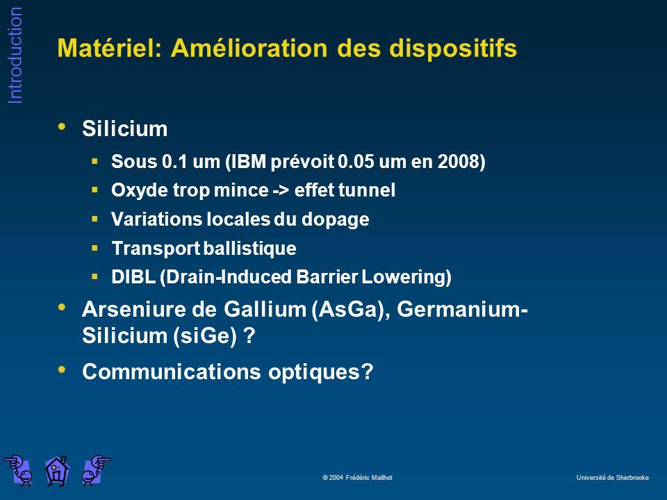 Introduction © 2004 Frédéric Mailhot Université de Sherbrooke Matériel: Amélioration des dispositifs Silicium Sous 0.1 um (IBM prévoit 0.05 um en 2008