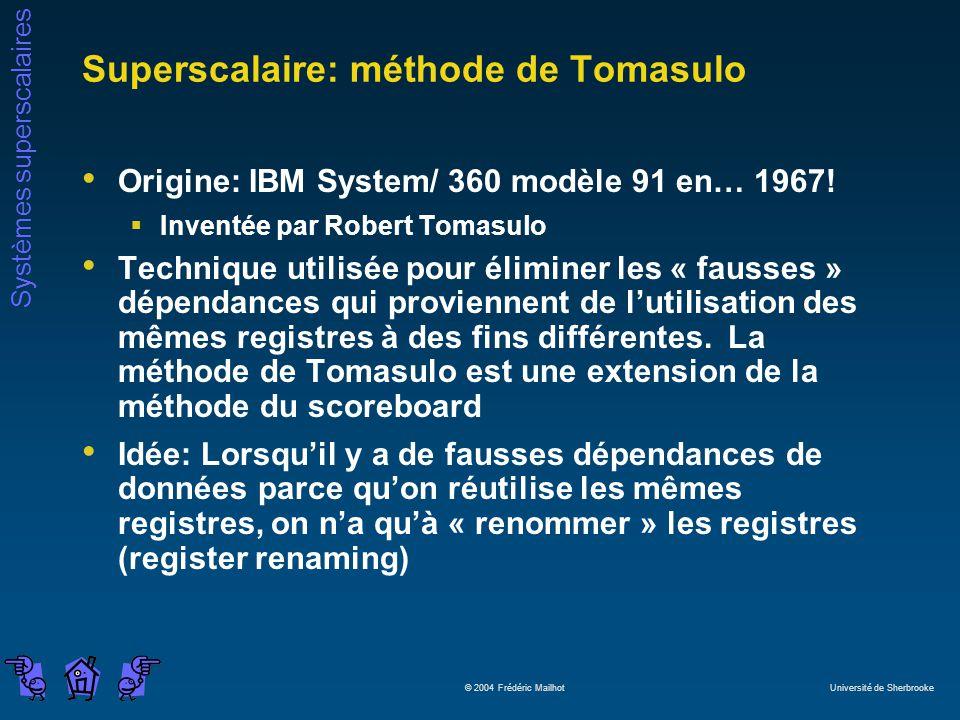 Systèmes superscalaires © 2004 Frédéric Mailhot Université de Sherbrooke Superscalaire: méthode de Tomasulo Origine: IBM System/ 360 modèle 91 en… 1967.