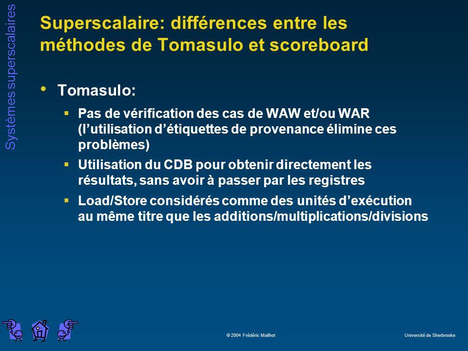 Systèmes superscalaires © 2004 Frédéric Mailhot Université de Sherbrooke Superscalaire: différences entre les méthodes de Tomasulo et scoreboard Tomas
