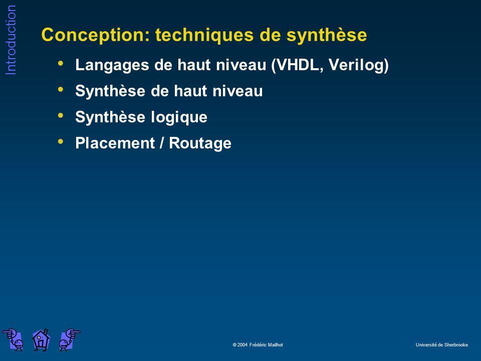 Introduction © 2004 Frédéric Mailhot Université de Sherbrooke Conception: techniques de synthèse Langages de haut niveau (VHDL, Verilog) Synthèse de haut niveau Synthèse logique Placement / Routage