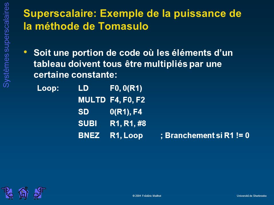 Systèmes superscalaires © 2004 Frédéric Mailhot Université de Sherbrooke Superscalaire: Exemple de la puissance de la méthode de Tomasulo Soit une por