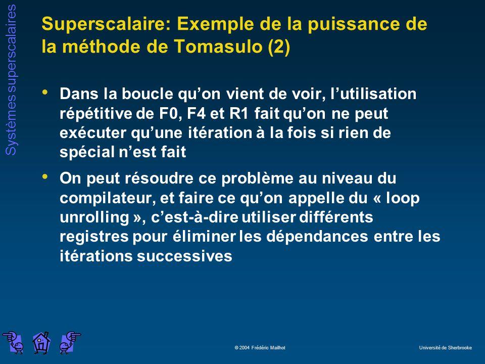 Systèmes superscalaires © 2004 Frédéric Mailhot Université de Sherbrooke Superscalaire: Exemple de la puissance de la méthode de Tomasulo (2) Dans la
